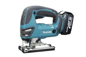 Makita BJV180Stroke: 1 inch; 0-2,600  Cutting modes: Straight + 3 orbital  Bevel: Takes Allen key  LED light: Yes  Weight w/battery (by ToTT): 6.42 lbs  Web price (bare; kit): $225; $410  Kit includes: Two 3.0-Ah batteries; charger; bag  Country of origin: United Kingdom  Pros: Cuts faster than most; large two-finger trigger; LED light provides excellent visibility; battery charges quickly so runtime is less of an issue  Cons: Least-effective dust blower; priced higher than competing models