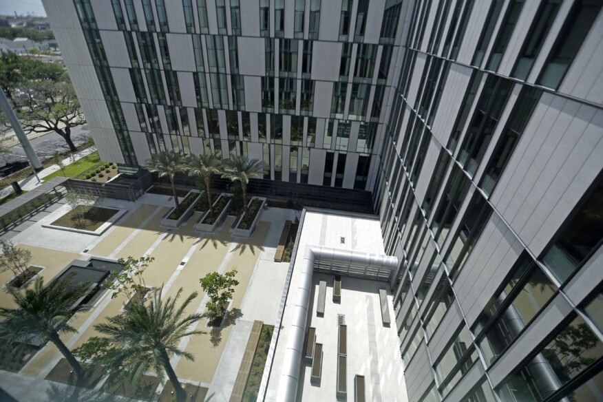 This picture shows a landscaped courtyard seen from an upper floor of the soon-to-open University Medical Center in New Orleans, during a media tour. The $1 billion medical complex, designed by NBBJ,was at the center of a yearslong fight over the extent of hurricane damage to the city's old Charity Hospital, fights over the razing of a neighborhood where the new hospital was to be built and over the objections of many in the medical community.