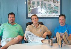 Don't be fooled by their casual attire. Northern Steel CEO Joss Hudson (center) and his two partners, Kurt Hensey (left) and Ken Hensey (right) want to thrust steel framing systems into the heart of residential construction.