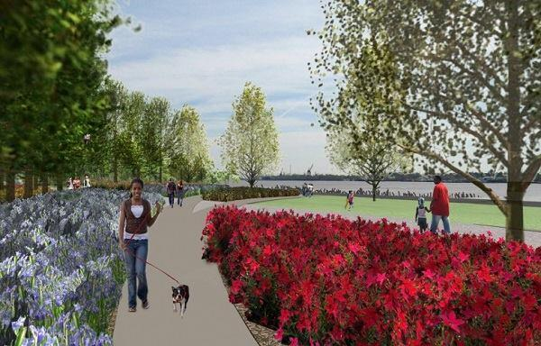 Early rendering for Linear Park and Piety Gardens, which combines pedestrian walkways with native vegetation.