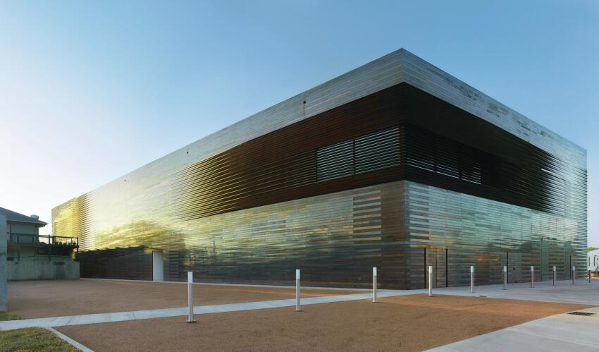 Louvers cover glazing from Oldcastle BuildingEnvelope, which allows daylight into some of the gallery spaces.