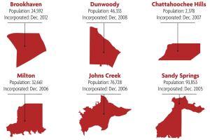 New cities within metropolitan Atlanta