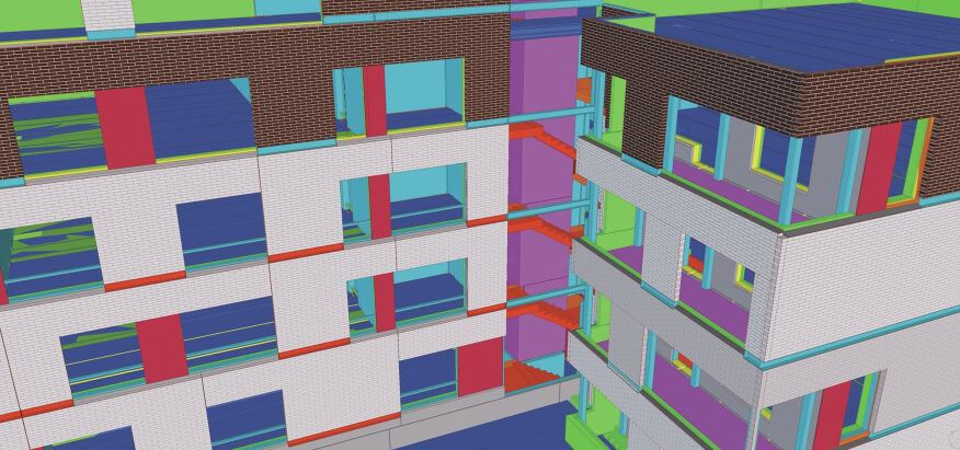 The Kalasatama Fiskari and Fregatti residential buildings in Finland took the prize for Tekla's 2013 Best Precast Project. The BIM model includes piled foundations, detailed and reinforced concrete elements, load-bearing structures, and thermal insulation and brickwork.