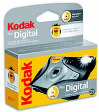 "The Kodak Plus Digital OneTime-Use Camera has 27 exposures, and if you check the box for ""prints plus CD"" when you develop the camera you will get your photos on a CD for no additional charge."