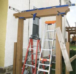 Figure 5. Temporary bracing holds the posts in place until the framing is complete.