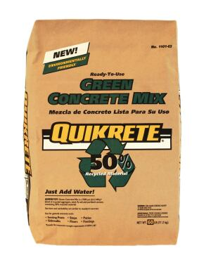 Quikrete. Green Concrete Mix comprises 50 recycled material including recycled aggregates fly ash andor slag cements diverting 0.25 cubic feet of waste from landfills per 60pound bag of material according to the firm. The material achieves a compressive strength of 3500 psi in 28 days meeting ASTM C 387 performance requirements. It is suitable for general concrete work. 800.282.5828.  www.quikrete.com.