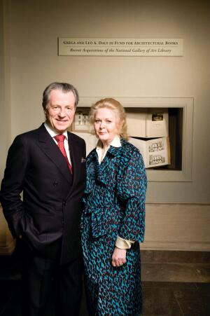 """Leo A. Daly III and his wife, Grega, in the exhibition space. The Dalys have pledged funding over 10 years to support the National Gallery of Art's acquisition of architectural books. """"It's something my family is passionate about,"""" says Leo Daly, the chairman and CEO of global firm Leo A Daly and a book collector himself."""