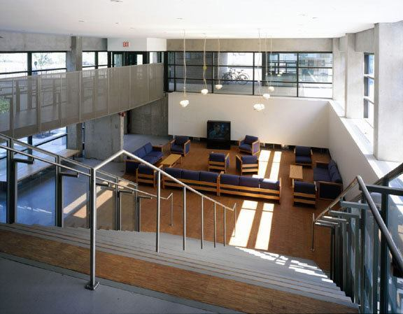 Stabile Hall's double-height entrance lobby can also be a small gallery or theater.