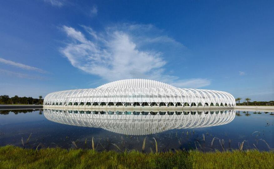 Calatrava's building is the first structure on the Florida Polytechnic University campus, which will be built around the linear lake.