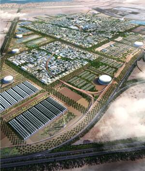 Norman Foster, Masdar City, Abu Dhabi  Ground was broken in early February on what is being touted as the world's first zero-waste, carbon-neutral city, Masdar City in Abu Dhabi, United Arab Emirates. When the city is completed in 2016, at a projected cost of $22 billion, it will reuse all its wastewater and derive 100 percent of its energy from photovoltaics, wind, and other renewable sources. Foster + Partners has master planned the 3.7-mile-square site (rendering opposite), which is expected to grow to 1,500 businesses and 50,000 residents.