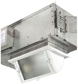 Light-Squares tilt-down wall wash fixture  Pathwaywww.pathwaylighting.com  High-performance reflector distributes light horizontally and vertically through microprismatic tempered glass - Tilts from flush with ceiling to 60 degrees - Lockable tilt prevents movement during lamp replacement - T6 ceramic metal halide lamp in 70 or 39 watts - Thermally protected ballast Custom finishes available
