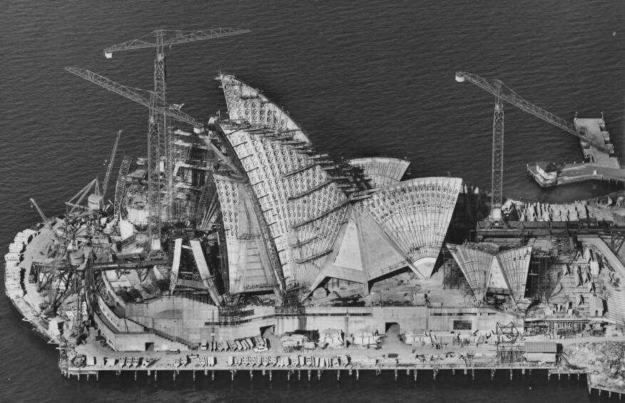 Sydney Opera House under construction, April 1966