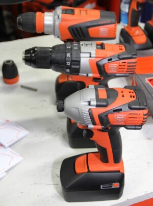 Fein's new 18-volt series includes (front to back) an impact driver, hammer drill/driver, 4-speed drill/driver, and (not shown) an impact wrench and 2-speed drill/driver.