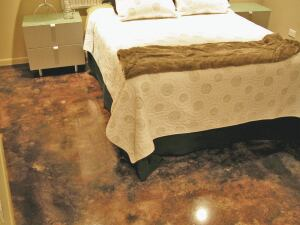 Stains and dyes add a decorative touch to concrete floors.