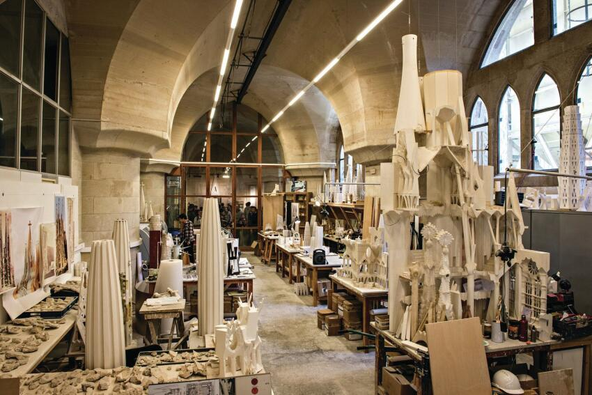 An assortment of study models of the church and its components made over time by architects, modelmakers, and designers fill the model room in the basement of Sagrada Família.
