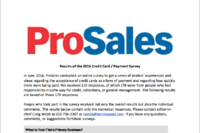 Now Available: Details from ProSales' Survey on Credit Cards and Payment Speeds