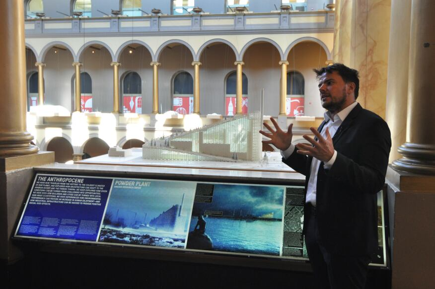 Bjarke Ingels, founding partner of Bjarke Ingels Group (BIG), explains the Amager Resource Center, one of many projects on display at the National Building Museum as part of the firm's HOT TO COLD exhibition.