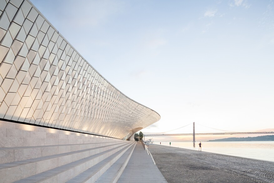 The entrance to MAAT, which is clad in more than 15,000 ceramic tiles