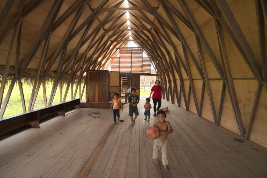 Santiago, Chile–based architect Samuel Bravo's Nii Juinti school for teaching the traditional medicine of the Shipibo people, in the Ucayali River basin in the Peruvian Amazon (2015).