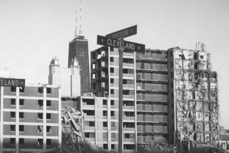 A partly demolished apartment block at Chicago's Cabrini Green public housing complex, in 2006.