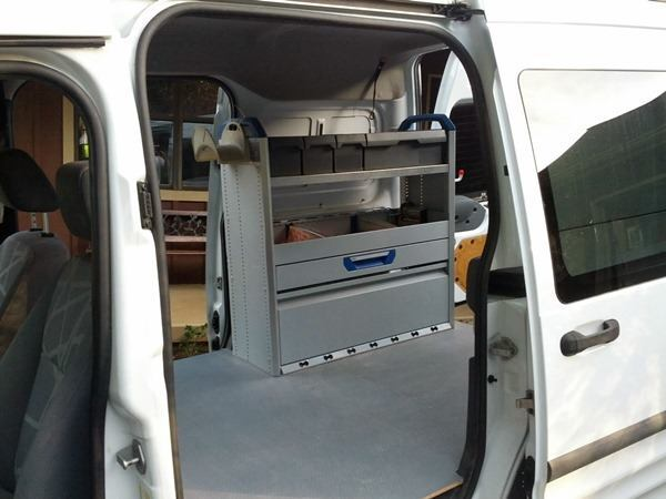 """The transit came with a Sortimo shelving unit already installed and if set up right it had the potential to be a """"lean mean carpentry machine""""."""