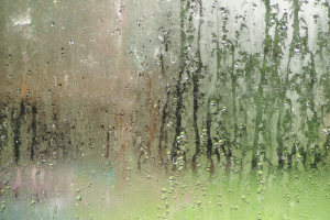 On a hot, humid summer day when the air conditioning is cranked up high, condensation can form on the outside of windows. Since there's no way to regulate outdoor humidity, the best defense against this is installing high-performance windows that include warm-edge technology and gas-filled insulated glass.