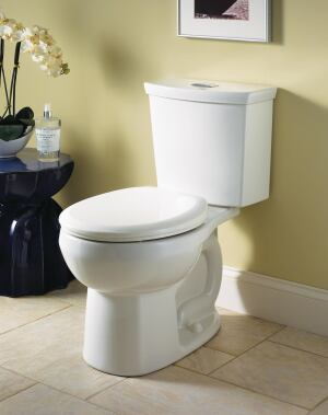 H2Option from American Standard is a dual-flush toilet with jetted bowl cleaning. The siphonic toilet uses 1 gallon of water on the low setting. When the user flushes H2Option, some of the water is instantly diverted to the rim, where there are a series of chambers. The air in the chambers pushes the water forcefully out into the bowl. Combined with the force of the rest of the water entering the bowl, a strong siphon is created, removing all waste and paper. The bowl has a normal slope with a generous water spot. The H2Option two-piece dual flush toilet is available in a variety of styles that include Right Height Elongated, Elongated, and Round Front, in white, bone, and linen. americanstandard.com