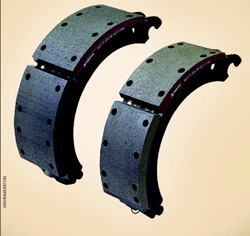Brake shoes for old (15X4-inch) front brakes (right), compared to newer, larger (16.5X5-inch), more  aggressive front brakes, which will be needed to meet  proposed standards.