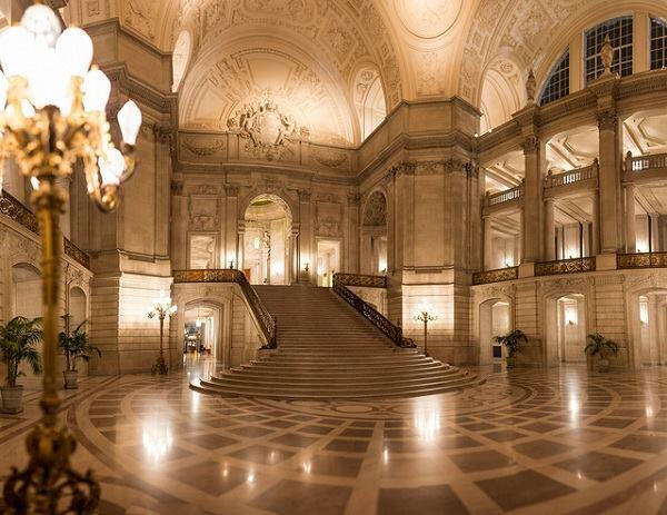 Inside San Francisco's City Hall.