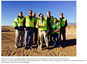 Pictured: Front Row (L to R) Adam Mainka, Dir. of Plant Operations; Fred Heldenfels IV, Pres./CEO; Kristen Knox, HR Supervisor Back Row (L to R) Dan Visel, VP; Kurt Schriefer, VP Estimating; Ron Reich, VP/CEO; Blaine Withers, VP Operations; Gil Heldenfels, VP & GM Building Systems Div. (Picture taken by: Bryan Pritchard, Project Manager)