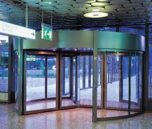 KT Series large diameter automatic revolving doors    Dormawww.dorma-usa.com  Offered in outside diameters up to 21 feet - Available in two-, three-, and four-wing models - Provides energy savings by minimizing airflow between the interior and exterior - Can be configured to collapse inward for passage of bulky items