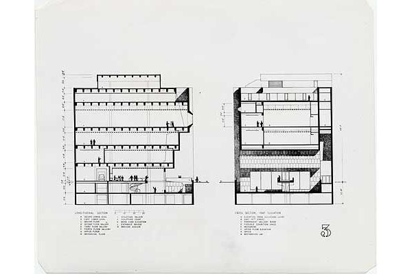 A section drawing of the Breuer-designed Whitney.