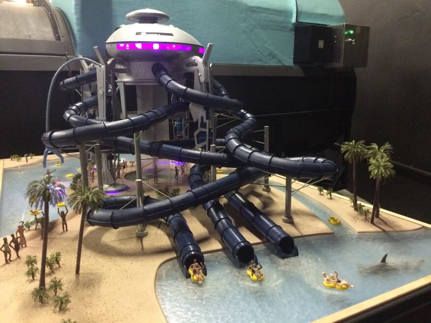 This scale model of SplashTacular's spaceship waterslide concept shows potential for otherworldly waterpark fun.