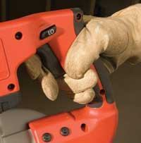 The two-finger trigger on the cordless Milwaukee makes it easy to run–even with gloves on.
