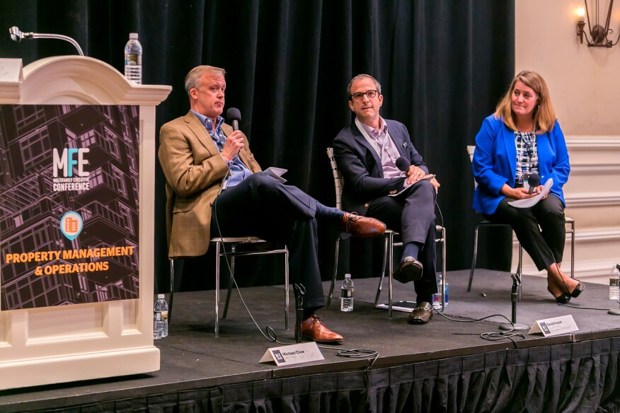 From left, Michael Clow, executive director of real estate, Greystar, David Ferszt, senior vice president of operations, Village Green Management Company, and Melissa Smith, executive vice president and chief administrative officer, Fogelman Management Group, share property management tips at the Multifamily Executive Conference.