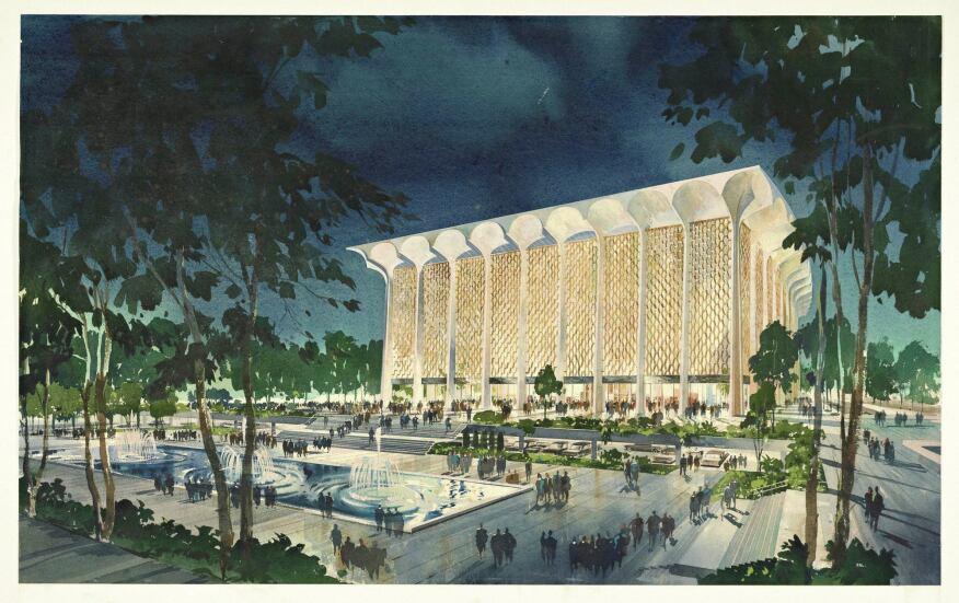 A watercolor of the 1964 Dorothy Chandler Pavilion by Welton Becket and Associates.