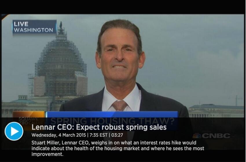 Lennar CEO Miller Optimistic on Housing