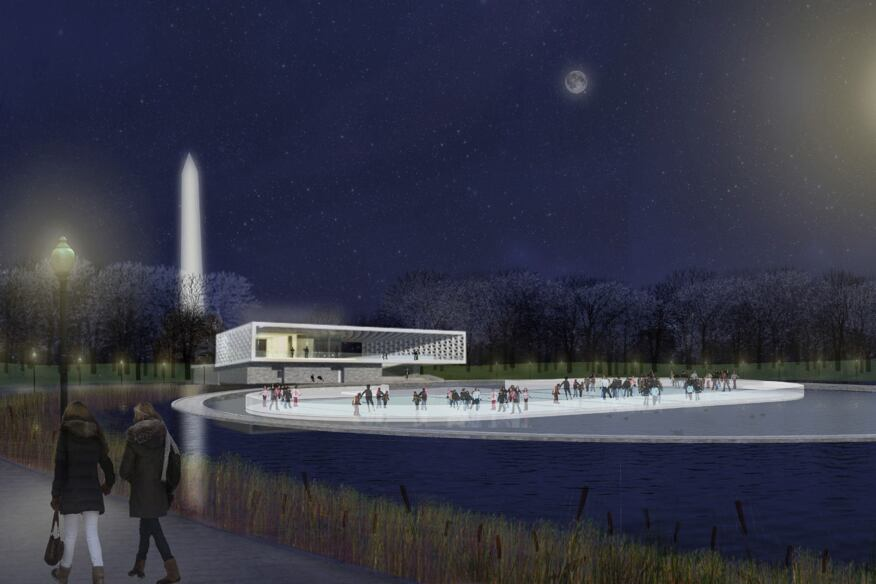 Rendering of the Waterfront Terrace at night