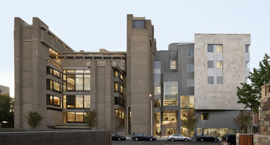 Paul Rudolph's A & A building (left)