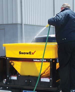 At the end of the season, wash your spreader off with water. Photos: SnowEx