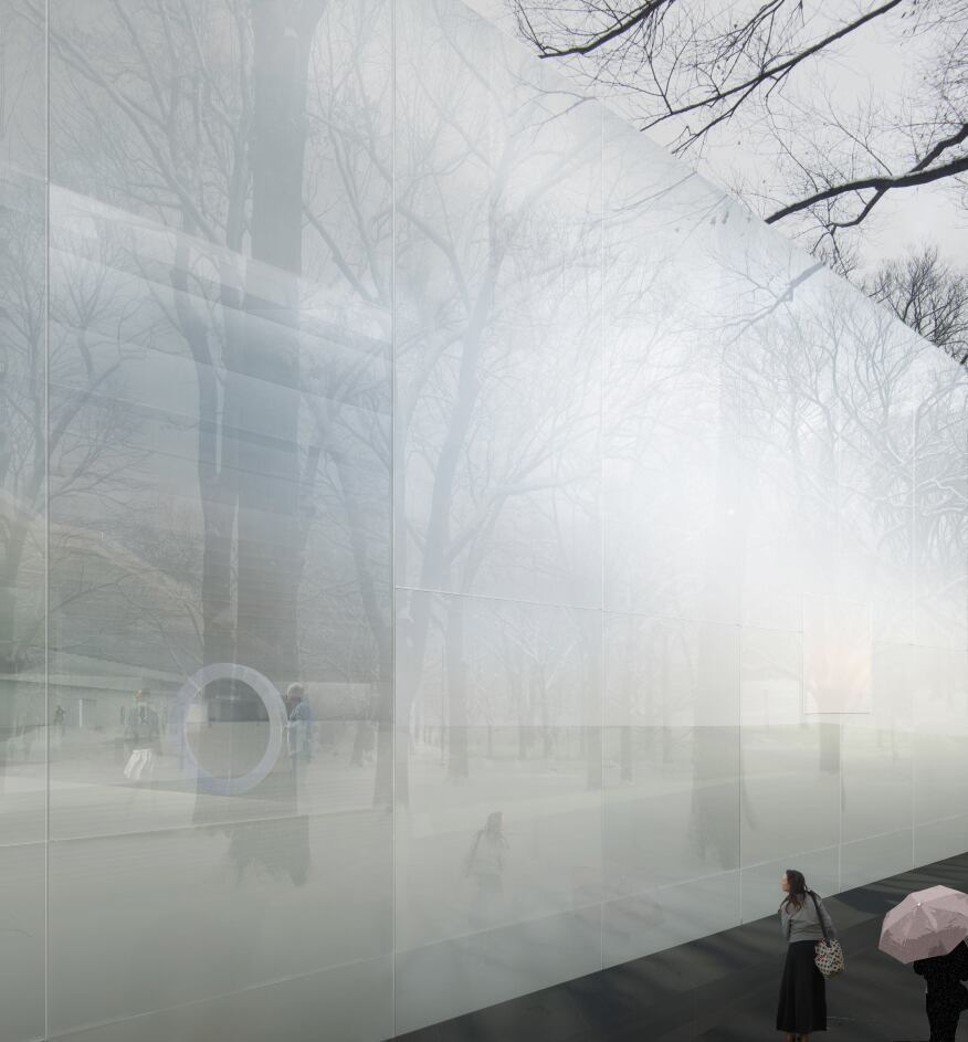 The 21-foot-tall glass panles that clad the North Wing addition to the Corning Museum of Glass will reflect the redesigned landscape.