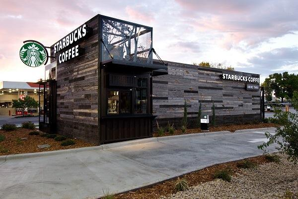 A drive-thru Starbucks in Denver made of shipping containers