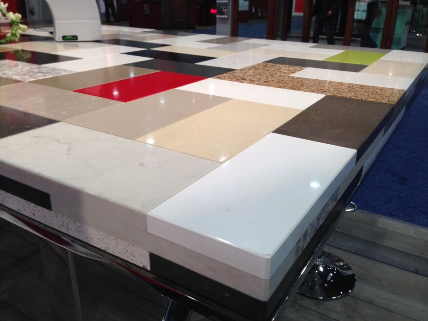 The Caesarstone booth's many countertop options. Photo by Lauren Hunter.