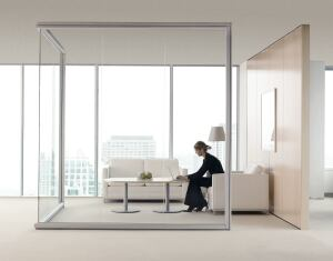 Optos seamless glass walls  Teknion Architectural Products  www.teknion.com  Panels are joined with high-bond adhesive tape to reduce appearance of vertical joints    Reduces noise, defines spaces, and allows natural light into interior    Available in clear, frosted, or graded-in glass from Teknion's Vanceva program    Trim is anodized aluminum