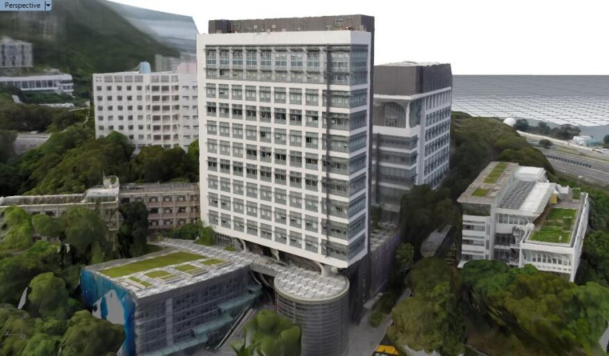 3D model of the Chinese University of Hong Kong constructed using images recorded by the drone.