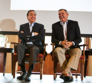 Former HUD secretaries Henry Cisneros (left) and Mel Martinez co-chair  the Bipartisan Policy Center Senior Health and Housing Task Force.
