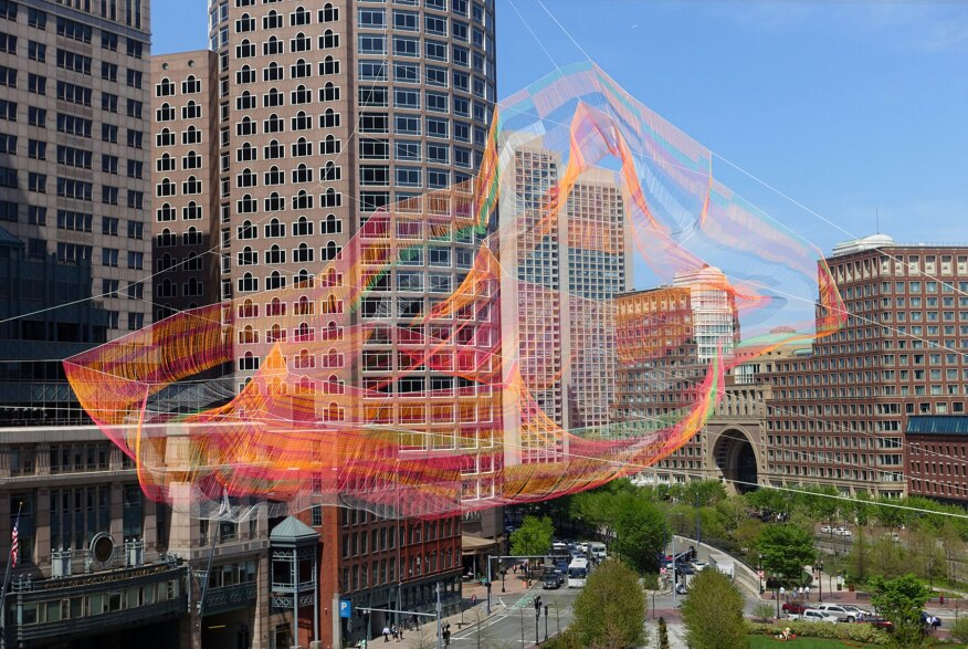 "Echelman's 2015 installation, ""As If It Were Already Here,"" was installed over the Rose Fitzgerald Kennedy Greenway in Boston, and on view for six months."
