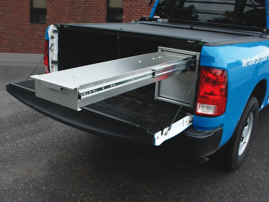 Truck and van storage makes use of every inch remodeling fleets trucks and accessories - Truck bed boxes drawer ...