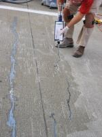 On some cracks or joints, doweling can be avoided altogether. This repair using Roadware Concrete Mender, a structural polyurethane, bonds the crack with microdoweling. This crack at the Cincinnati International Airport remains fully bonded today after six years of service. William D. Palmer Jr.