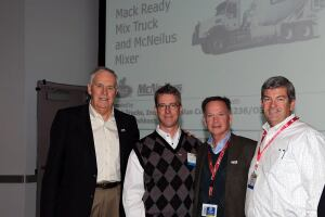 The winning bidder of the auction signature item was Danny Rodgers, President of MMC Materials, Inc. With Mr. Rodgers, from left to right are: Eugene Martineau, Executive Director, Concrete Industry Management (CIM) Program National Steering Committee; Curtis Dorwart, Vocational Marketing Manager, Mack Truck, Inc.; Danny Rodgers, President of MMC Materials, Inc., an operating company of Dunn Investment Company; Tom Harris, Vice President, McNeilus Co.; Mike Schneider, CIM Chairman and Senior Vice President, Baker Concrete.